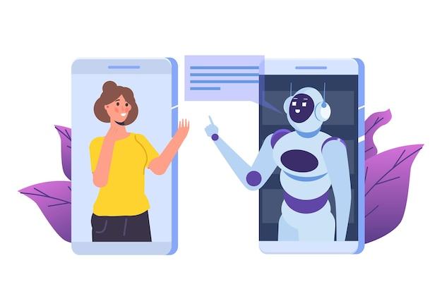 Chatbot-concept. man in gesprek met robot. klantenservice android, kunstmatige intelligentie dialoog.