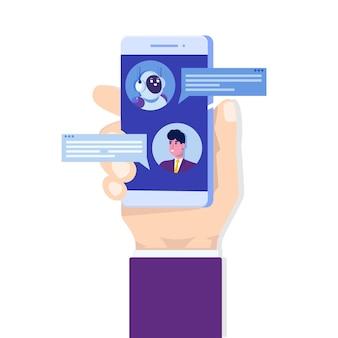 Chatbot concept. man praten met robot. klantenservice android, kunstmatige intelligentie dialoog.