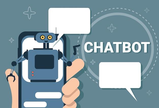 Chatbot concept ondersteuning robottechnologie digitale chat bottoepassing op slimme telefoon