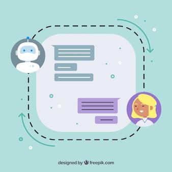 Chatbot-conceptenachtergrond met gesprek