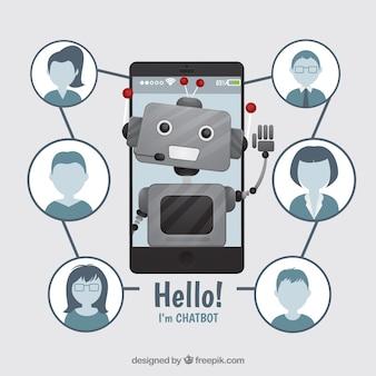 Chatbot-conceptenachtergrond met robot en profielen