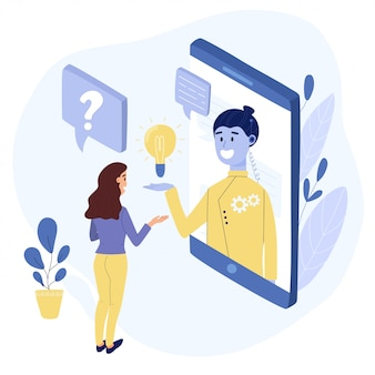 Chatbot gesprek concept. vrouw praten met een chat-bot via de mobiele telefoon