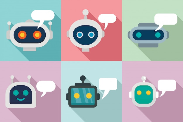 Chatbot iconen set, vlakke stijl