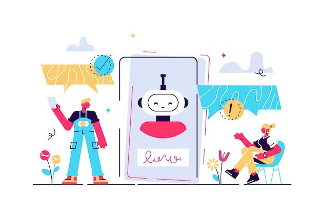 Chatbot illustratie. mini-personen praten met digitale robot concept.