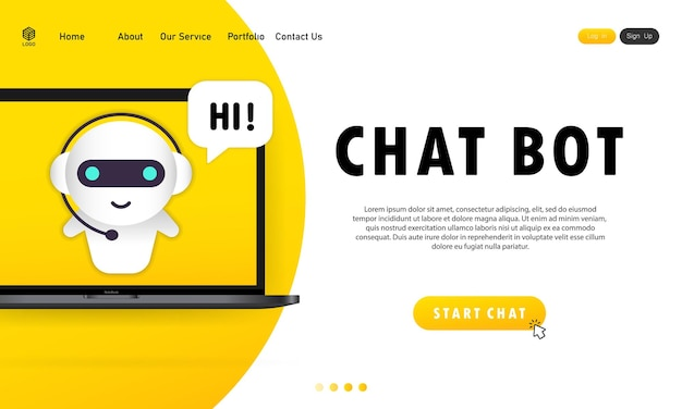 Chatbot in laptopillustratie