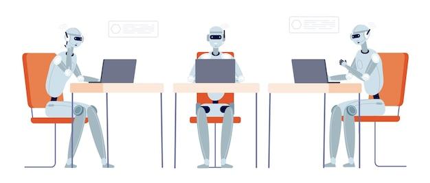 Chatbot-klantenondersteuning. moderne robot chatten, botservice of hotline. slimme technologie in zaken, vectorillustratie van de cyborgexploitant. service ondersteuning chatbot, gesprek online