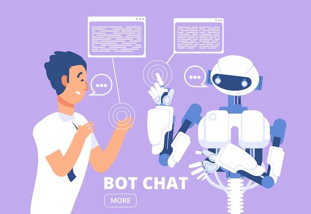 Chatbot. man chatten met chat bot. klantenservice illustratie