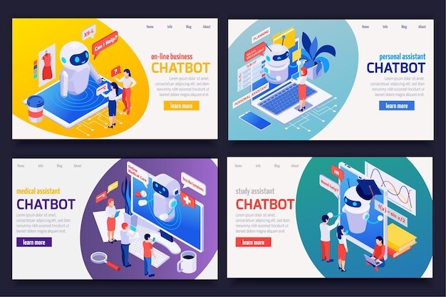 Chatbot messenger isometrische webbanners ingesteld met persoonlijke medische financiële zakelijke studieassistenten