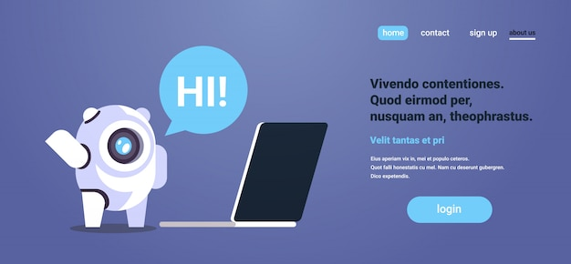 Chatbot met laptopcomputer tekstballonrobot virtuele assistentie website mobiele applicaties bestemmingspagina