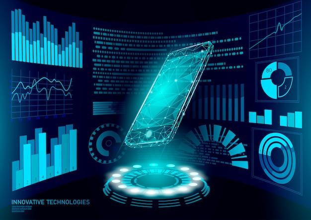 Chatbot mobiele smartphone 3d virtual reality. visuele verbeelding laag poly veelhoekige geometrische vormen. creatief elektronisch leren lezen elektronisch touchscreen. hud-weergave illustratie