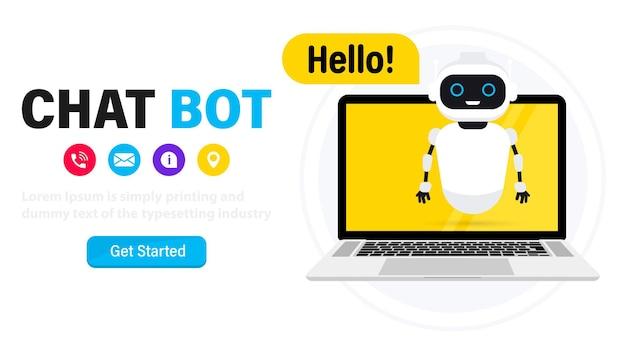 Chatbot op laptop. online assistent. communicatie met een chatbot op laptopcomputer. praten met een chatbot. kunstmatige intelligentie. klantenservice en ondersteuningsbot. dialoogbericht technische ondersteuning