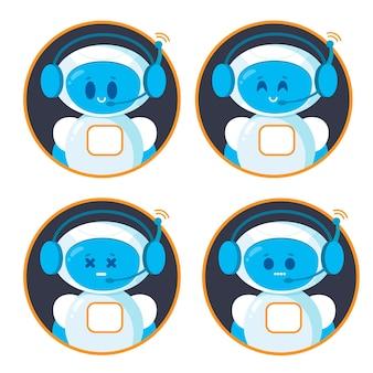 Chatbot pictogramserie. schattige lachende robots.