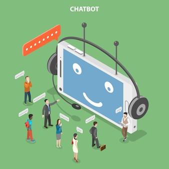 Chatbot plat isometrische vector concept.