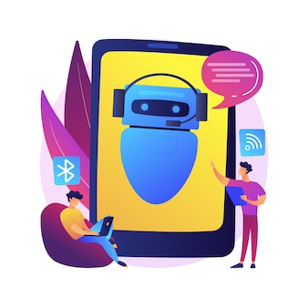Chatbot virtuele assistent abstract concept illustratie. internet, online slimme robot, apparaatgesprek, mediadialoog, systeemproject, technologie, websoftware-app.