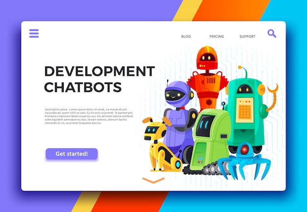 Chatbots ontwikkeling. digitale chatbot-assistent, vriendelijke robots en assistentierobot bestemmingspagina cartoon illustratie