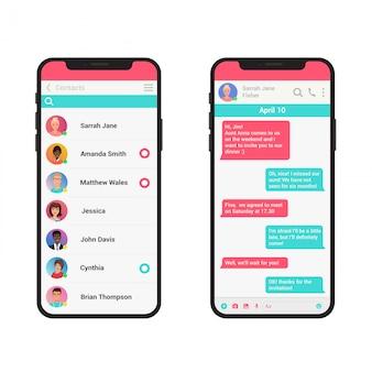 Chating en messaging illustratie concept. sociale netwerk messenger moderne smartphone geïsoleerd.