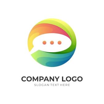 Chatlogo en kleurrijke ontwerpillustratie, wereldbollogo met chatpictogrammen