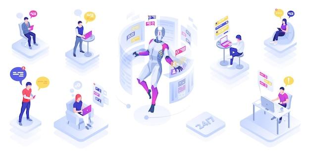Chatrobot of virtuele assistent helpt gebruikers chatbot of ondersteunt botberichtmensen die actief zijn