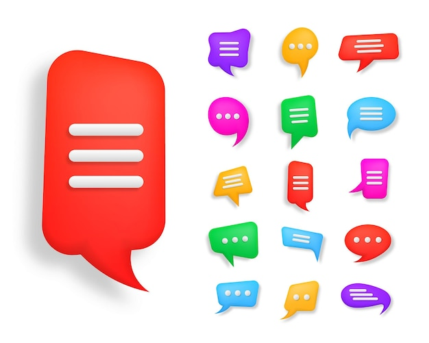Chatsymbool 3d-stijlpictogram voor webdesign ui mobiele app infographic