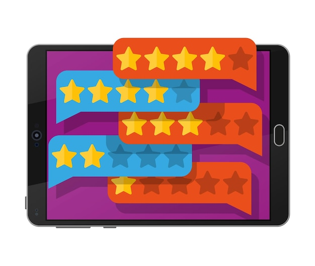 Chatwolken met gouden sterren op het scherm van de tabletpc. recensies vijf sterren