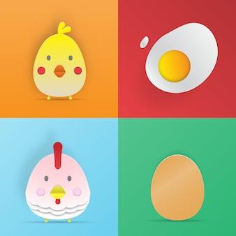 Chcken en eier papier kunst stijl 3d vector illustratie set