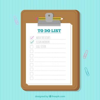 Checklist achtergrond met klembord in plat ontwerp