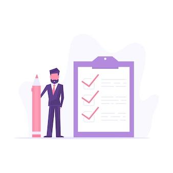 Checklist concept illustratie. bedrijfsmens met een groot potlood en controlelijst op een klemborddocument.
