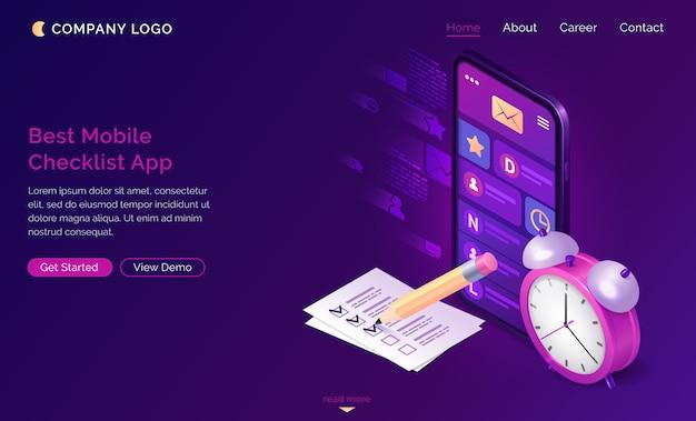 Checklist isometrische bestemmingspagina, mobiele app.