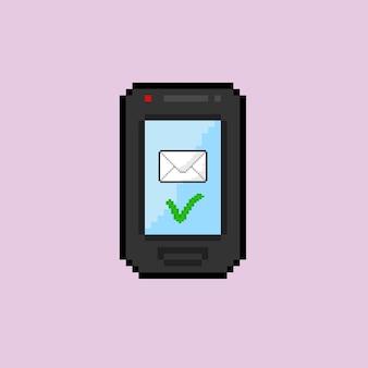 Checklist op de telefoon verzenden met pixelart-stijl