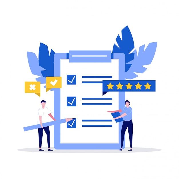 Checklist. personages en klembord met checklist en vinkjes. bedrijfsplan, enquête, marketingstrategie, taken voltooien, succesconcepten voor teamwerk.