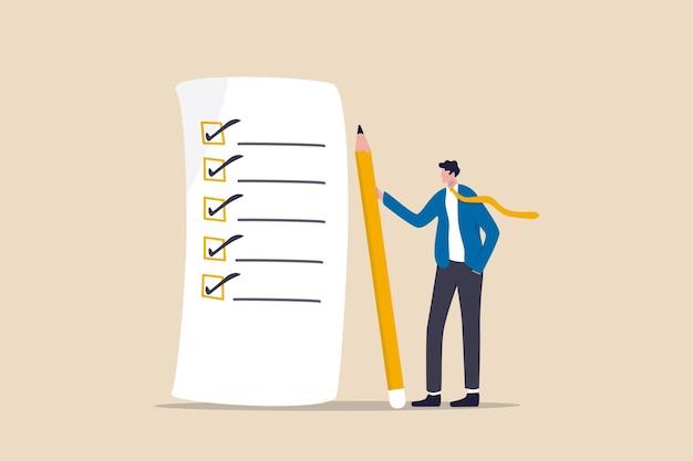 Checklist voor voltooiing van het werk, beoordelingsplan, bedrijfsstrategie of takenlijst voor concept van verantwoordelijkheid en prestatie