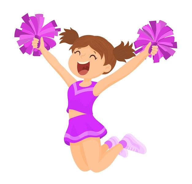Cheerleader met bijpassende pompons