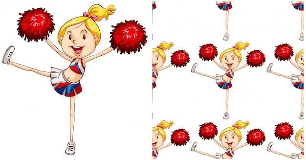 Cheerleader naadloos patroon dat op wit wordt geïsoleerd
