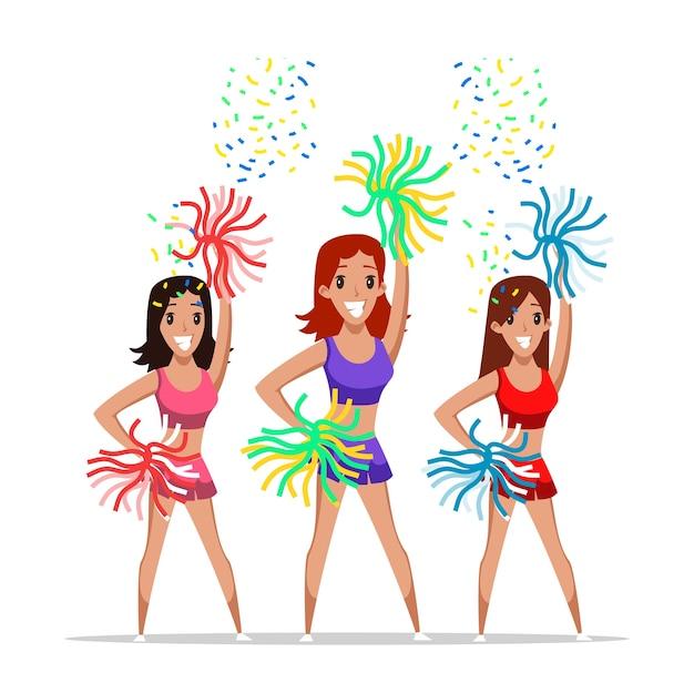 Cheerleaders team illustratie, jonge vrolijke meisjes met pompons stripfiguren.