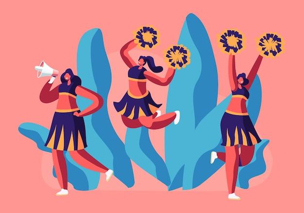 Cheerleaders team in uniform dansen met pompons huilen naar megafoon op sportevenement competitie ter ondersteuning van sporters.