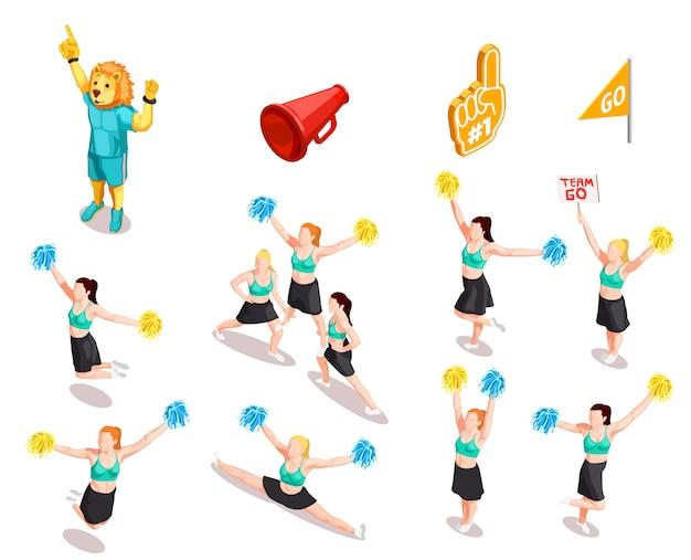 Cheerleading competitie tekenset