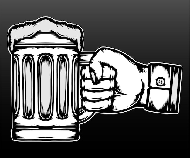 Cheers hand met mokken geïsoleerd op zwart