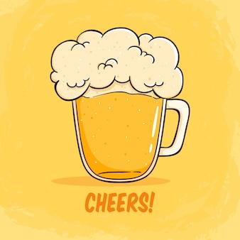Cheers mate glas bier illustratie met schuim groot bier illustratie