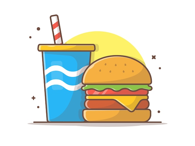 Cheese burger-illustraties met frisdrank en ijs vector illustraties