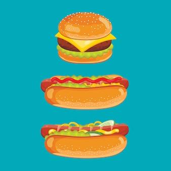 Cheeseburger en hotdog geïsoleerd