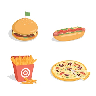 Cheeseburger, hotdog, frites en pizza