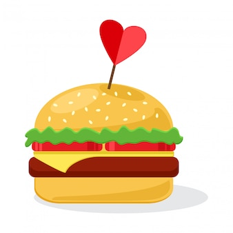 Cheeseburger met hart. illustratie
