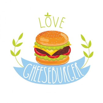 Cheeseburger op witte achtergrond