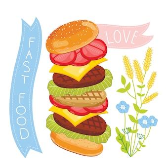 Cheeseburgeringrediënten op witte achtergrond