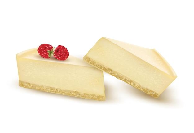 Cheesecake slice versierd met frambozenbessen. vector
