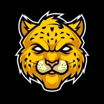 Cheetah hoofd, mascotte esports logo vectorillustratie
