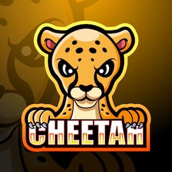 Cheetah mascotte esport logo ontwerp