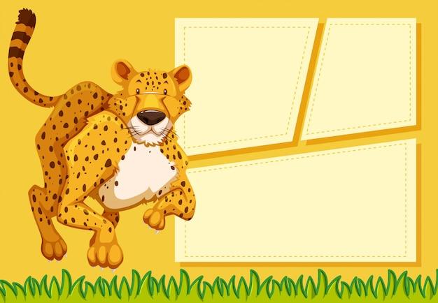 Cheetah op notitie sjabloon
