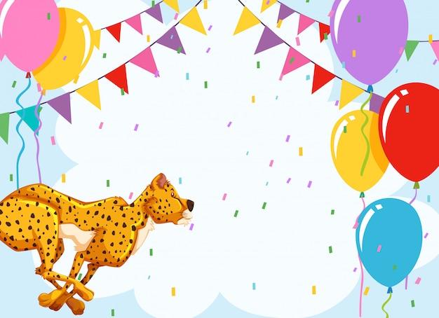 Cheetah op verjaardagssjabloon