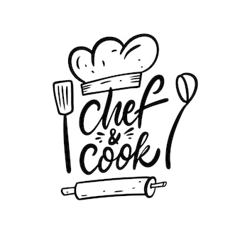 Chef en cook belettering zin